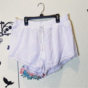 White Perforated 100% Cotton Shorts | Topshop